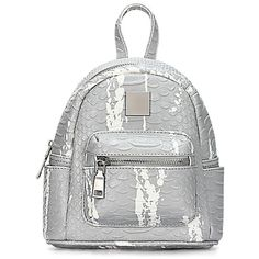 Yoins Grey Croc Leather-look Mini Backpack with Decorative Detailing (44 CAD) ❤ liked on Polyvore featuring bags, backpacks, grey, grey rucksack, croc bags, crocodile skin backpack, day pack backpack and grey backpack