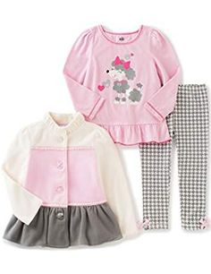 Kids Headquarters Baby 3 Pieces Winter Fleece Color Block Jacket Pants Set, Off White, 18 Months: Baby girl winter fleece jacket with jersey tee and printed jersey pants Kids Headquarters, Baby Girl Winter, Girls Dress Up, Toddler Girl, Baby Girls, Printed Leggings, Outfit Sets, Long Sleeve Tops, Kids Outfits
