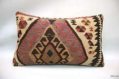Decorative hand woven pillow cover made of years old Turkish pile rug fragments backed with cotton cloth. Insert not included. Sofa Pillows, Accent Pillows, Throw Pillows, Geometric Pillow, Woven Fabric, Decorative Pillows, Hand Weaving, Pillow Covers, Rugs
