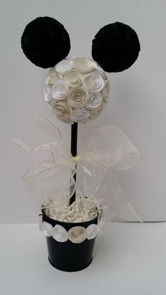 Wedding Mickey or Minnie Mouse Topiary for Table Decoration / Centerpiece white, ivory and black