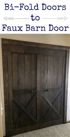 This is awesome! Take a bifold door and turn it into a faux barn door! This is awesome! Take a bifold door and turn it into a faux barn door! This is awesome! Take a bifold door and turn it into a faux barn door! Porta Diy, Decor Scandinavian, Diy Barn Door, Barn Door Closet, Rustic Closet, Bi Fold Closet Doors, Bedroom Closet Doors, Barn Doors For Closets, Ideas For Closet Doors