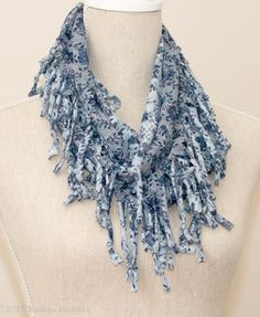 Blue Burnout Flower Print Short Knotted Cowl Scarf