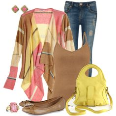 A fashion look from February 2015 featuring striped top, camel top and faded skinny jeans. Browse and shop related looks.