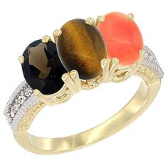 10K Yellow Gold Natural Smoky Topaz, Tiger Eye and Coral Ring 3-Stone Oval 7x5 mm Diamond Accent, sizes 5 - 10 ** Trust me, this is great! Click the image. : Ring Bands