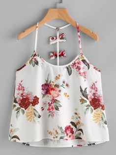 Floral Tops Sleeveless Top Camisole Top Multicolor Halter Bow Embellished Y-Back Cami Top Casual Skirt Outfits, Cute Summer Outfits, Outfits For Teens, Teen Fashion, Womens Fashion, Womens Sleeveless Tops, Korean Outfits, Cami Tops, Top Pattern
