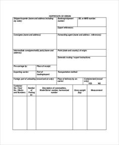 Certificate Of Origin Template  Official Templates