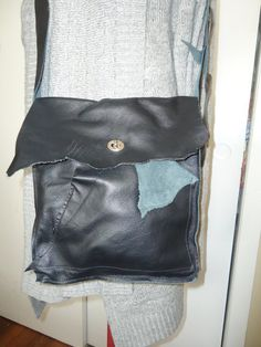 black leather crossbody bag by MoeSews on Etsy, $55.00