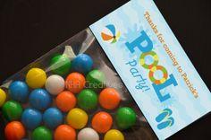 Personalized Pool Party Birthday Treat Bag Topper - DIY Printable Digital File