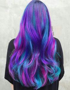Purple, blue & pink colorful long hair