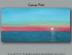 Large Panoramic Wall Art Sunset Seascape Painting By ArtFromDenise