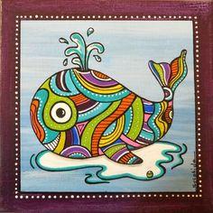 """Une petite baleine """"Apnée"""" en médium découpé peinte à l'acrylique et   Posca, vernie et collée sur un cadre en bois de 20 cm x 20 cm peint à   l'acrylique.  Modèle un - 9407417"""