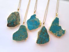 Sea Sediment Jasper Necklace Blue Turquoise Stone Necklace Slice Pendant Gold Dipped Jewelry Boho Stone Pendant Colorful Necklace Gold Edged