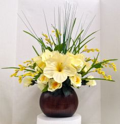 Spring Faux Amaryllis with yellow rose bush and pussy willow on Modern Wood Vase- Floral 2014 Season design and Arrangement. Arts & Crafts ROCK! http://nfmdesign.synthasite.com/