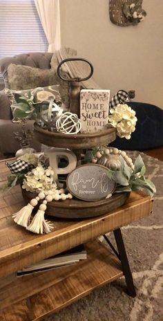 12 farmhouse spring decor ideas to consider - GODIYGO. - 12 farmhouse spring decor ideas to consider – GODIYGO.COM – Farmhouse decor outside - Decoration Shabby, Decoration Table, Rustic Decor, Centerpiece Ideas, Galvanized Tray Centerpieces, Rustic Style, Galvanized Tiered Tray, Room Decorations, Rustic Chic