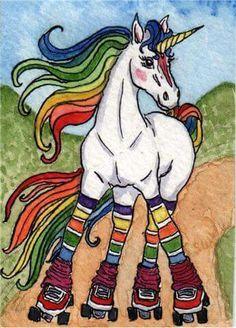 rainbow roller skating unicorn