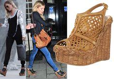 As seen on Sienna Miller! Prada high platform/wedge perforated sandals #Prada #SiennaMiller