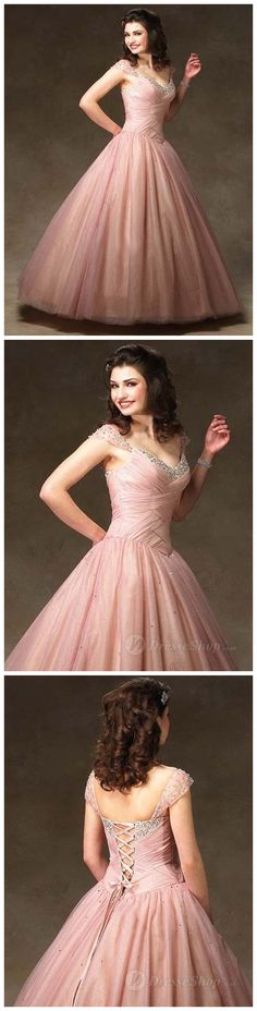 ball gown pink v-neck dress with Natural Waist *and tiny sleeves!*