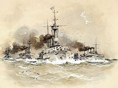 Willy Stöwer - Deutsches Marinegeschwader auf See