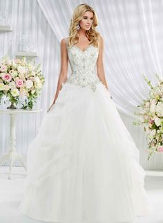 Wedding Dresses | Ronald Joyce - Eloise is a stunning gown with a fitted jewel encrusted bodice and full organza skirt...full on fairy tale stuff!