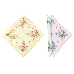 Women's 6-pc Handkerchiefs in Floral Print 100% Cotton with Scalloped Edge