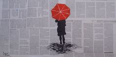 Original Painting Woman with umbrella  Painting by LuciaGalvezG, €35.00