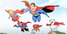 Supergirl, Superman, Beppo, Streaky the Supercat and Krypto the Superdog
