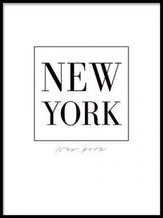 Tavla med New York, svart text på vit bakgrund.