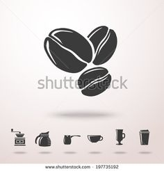 Coffee beans detailed vector monochrome icon in the air with shadow. With set of coffee icons - coffee mill, kettle, dipper, mug, cup, iced ...