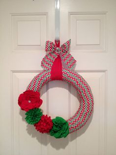Christmas Chevron Wreath with Flowers by PolkadotsOriginals