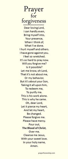 A prayer for forgiveness.