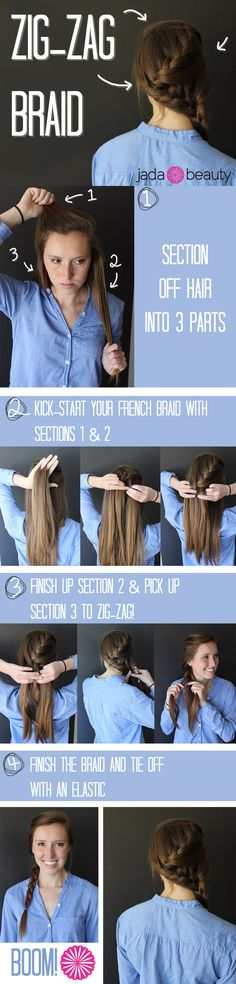 Zigzag braid- this would be a good one for volleyball tounraments, practices or games :)
