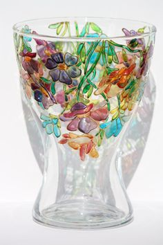 Hand painted glass vase with colorful flowers