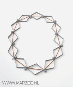 Lucy Sarneel - necklace, 2005, zinc, antique glass beads, pearl stringing thread -  35 x 22 cm