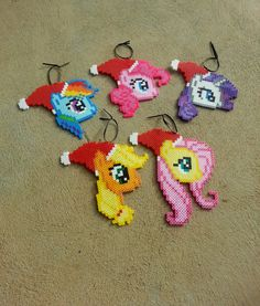 My Little Pony Christmas ornaments perler beads by BurritoPrincess