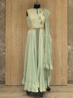 Shop Mint Green Designer Anarkali Dress By Vidieo Shopping Patiala Salwar Suits, Latest Salwar Kameez, Designer Anarkali Dresses, Designer Salwar Suits, Heavy Dresses, Long Dresses, Maxi Dresses, Western Dresses, Western Gown