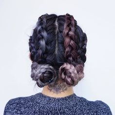 Purple and blue dyed Braided hair with buns - http://ninjacosmico.com/28-crazy-hairstyles-ideas/