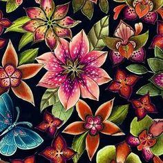"Johanna Basford's new book ""Magical Jungle"" . Jungle Coloring Pages, Coloring Book Art, Colouring Pages, Adult Coloring Pages, Magical Jungle Johanna Basford, Jungle Flowers, Colored Pencil Tutorial, Johanna Basford Coloring Book, Color Crafts"