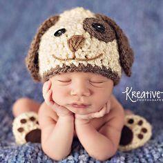 Baby Boy Hat PUPPY LUV Newborn Baby Boy by CrochetMeSomethin