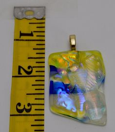 Hand Blown Dichroic Fused Glass Yellow Silver Blue Pendant Women's Jewelry #Handmade #Pendant