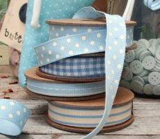 East of India baby blue ribbon with cream spots Blue Ribbon, Dream Job, Ribbons, Baby Blue, Colours, India, Crafty, Cream, Sewing