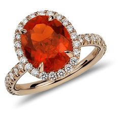 Blue Nile Fire Opal and Micropavé Diamond Ring in 18k Rose Gold ($3,000) ❤ liked on Polyvore