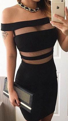 Black Plain Cut Out Boat Neck Sleeveless Sexy Mini Dress