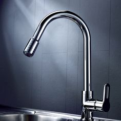 Pull Out Modern Kitchen Sink Faucet LED