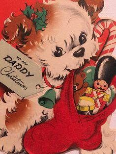 Vintage Christmas Card Daddy Puppy NOS Unused Midcentury