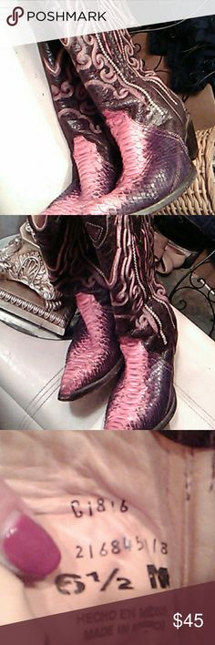 Pink accents and Brown colored boots Pink and Brown Boots Genuine leather Made in Mexico Sz 6.5 Shoes Heeled Boots