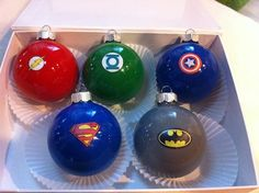 Use clear glass ornaments, acrylic paint and superhero logos to create fetching Christmas gifts.