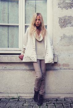 I am so loving a chunky sweater with a slim pant look-photo via Oracle Fox