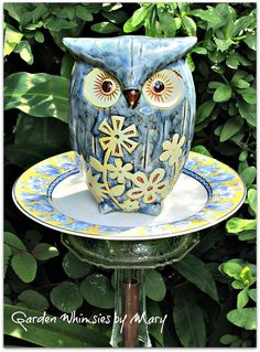 Blue Owl Garden Totem Stake As Featured by GardenWhimsiesByMary, $35.00