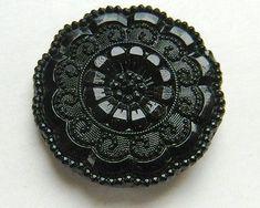 Antique Black Glass Button