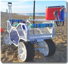 Look at those wheels!! If you're going to the beach and want to get across the sand with a cart loaded with gear, you're going to need some big, wide wheels. The Sport Wagon. #beachcart #beachgear #lifesabeach